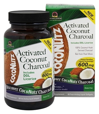 COCONUTZ ACTIVATED COCONUT CHARCOAL WITH DGL LICORICE  60 SOFTGEL